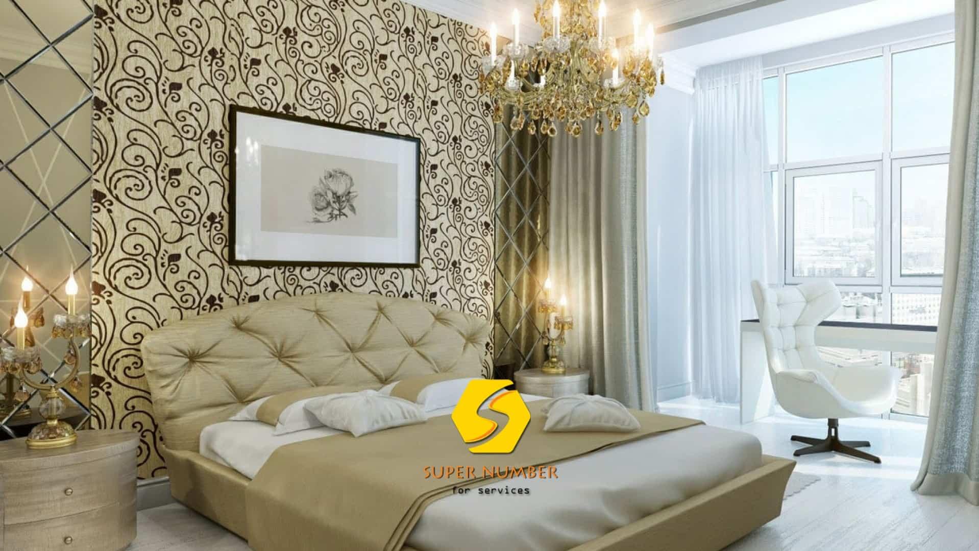 تركيب ورق جدران غرف النوم ابوظبي
