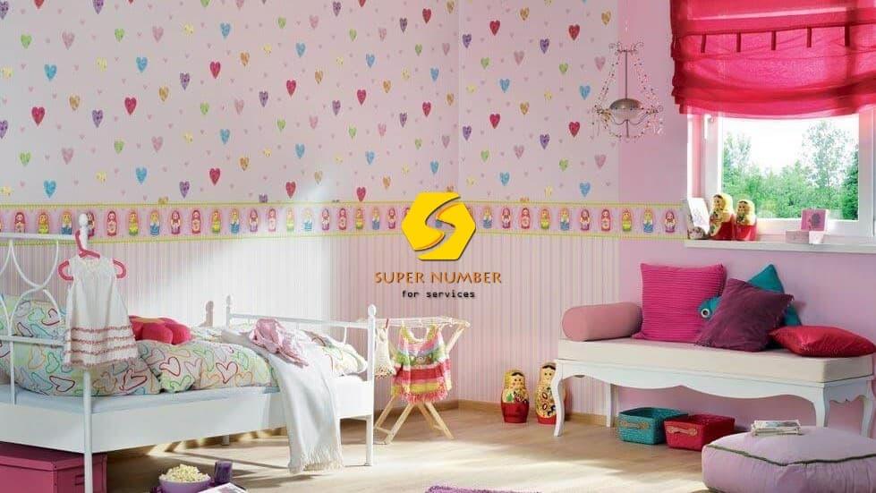 تركيب ورق جدران غرف نوم الاطفال